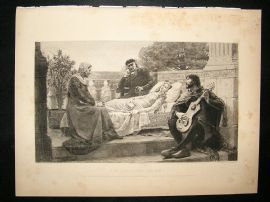 A.P.Masse 1895 etching after Leighton. 'How Lisa Loved The King'.